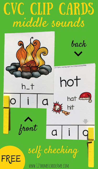 FREE CVC Words Clip Cards - Middle Sounds. These are such a fun way for prek, kindergarten, and first grade to practice identifying middle sounds in words to improve their reading, phonics skills, and spelling. SELF CHECKING so perfect for literacy centers, summer learning, or independent practice in homeschool