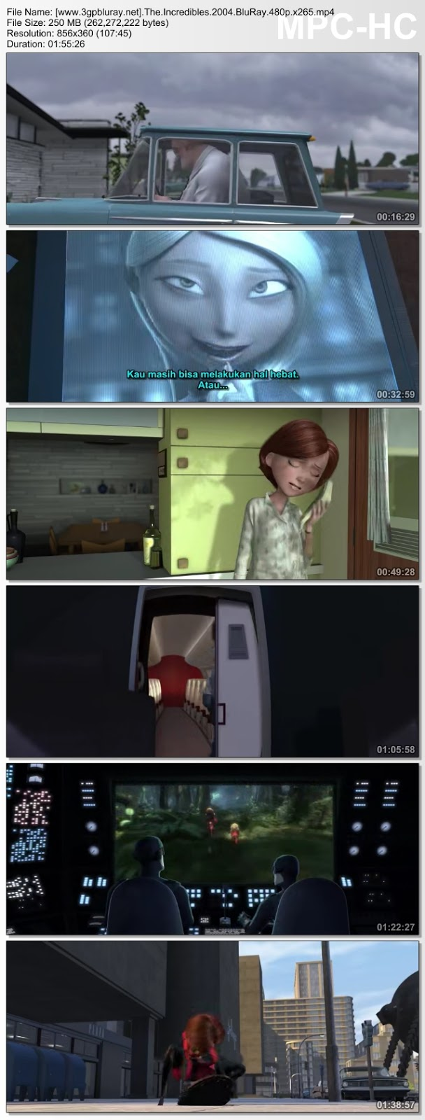 Screenshots Download The Incredibles (2004) BluRay 480p & 3GP Subtitle Indonesia