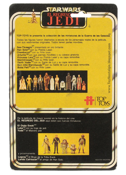 TOP TOYS card back - El Regreso del Jedi - Argentina