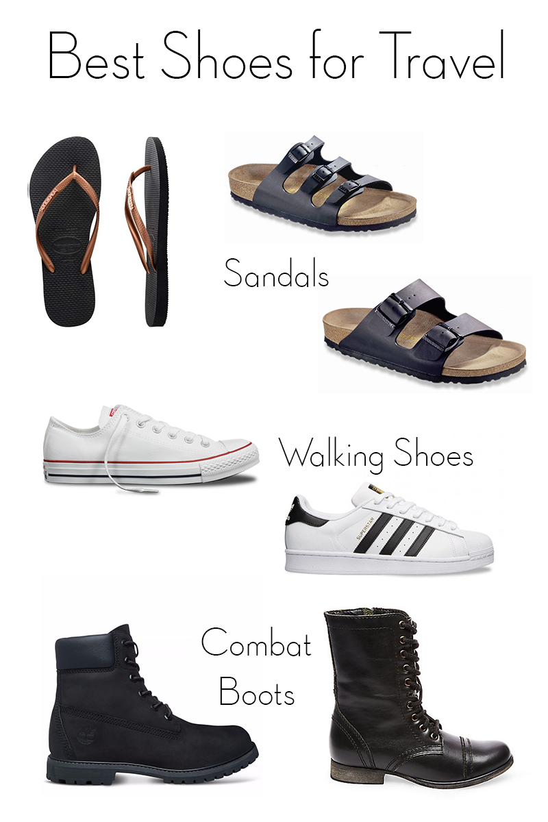 best shoes for travel, best travel shoes, shoes for travel, havaianas, birkenstock florida, birkenstock arizona, converse, adidas superstar, timberland boots, steve madden troopa boots