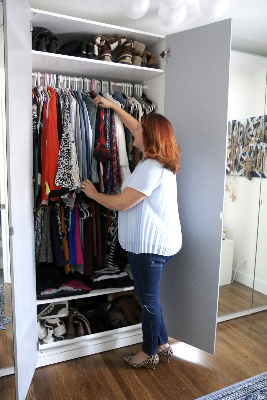 closet tour, blogger closet, home office, girly office, white desk, ikea closet wardrobe, bellacor, vanity, makeup organization