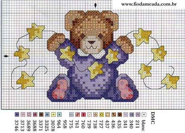 punto de cruz oso con estrellas esquema gratis para descargar