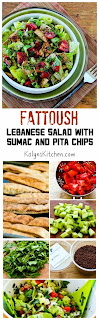 Fattoush Lebanese Salad with Sumac and Pita Chips found on KalynsKitchen.com