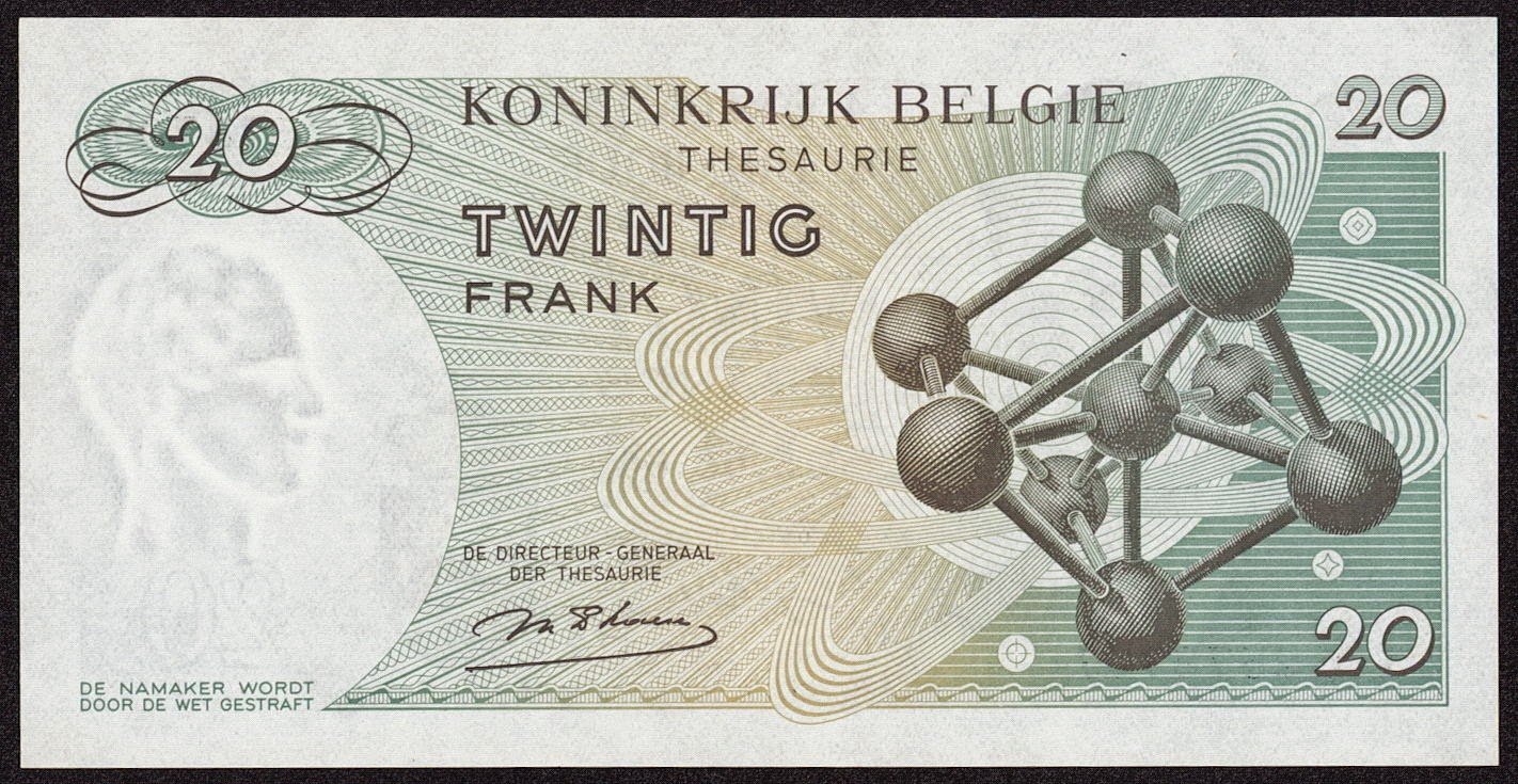Belgium Banknotes 20 Francs Treasury Note 1964 Atomium building in Brussels
