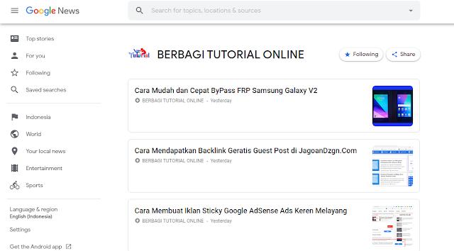 Google News Berbagi Tutorial Online