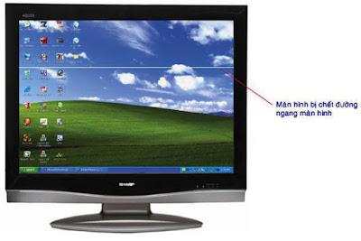 Hình 25 - Màn hình bị chết đường ngang, có vạch sáng trắng hoặc đen ngang màn hình.
