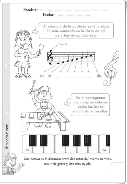 """""""Las notas y el pentagrama"""" de Pipo (Ficha de Música de Primaria)"""