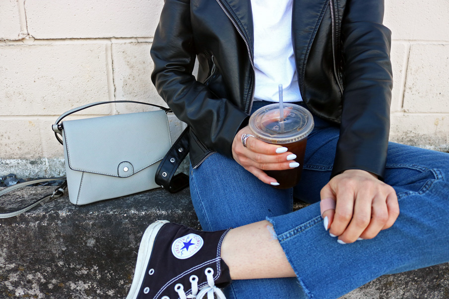 Gray Cross Body Bag, Converse Shoes, Denim Jeans