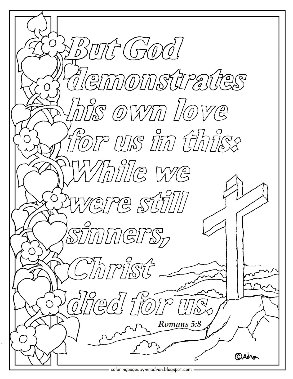 romans 58 print and color page god demonstrates his love for us - Romans 5 8 Coloring Page