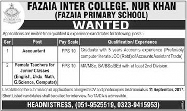 Jobs In Fazaia Inter College Nur Khan Aug 2017