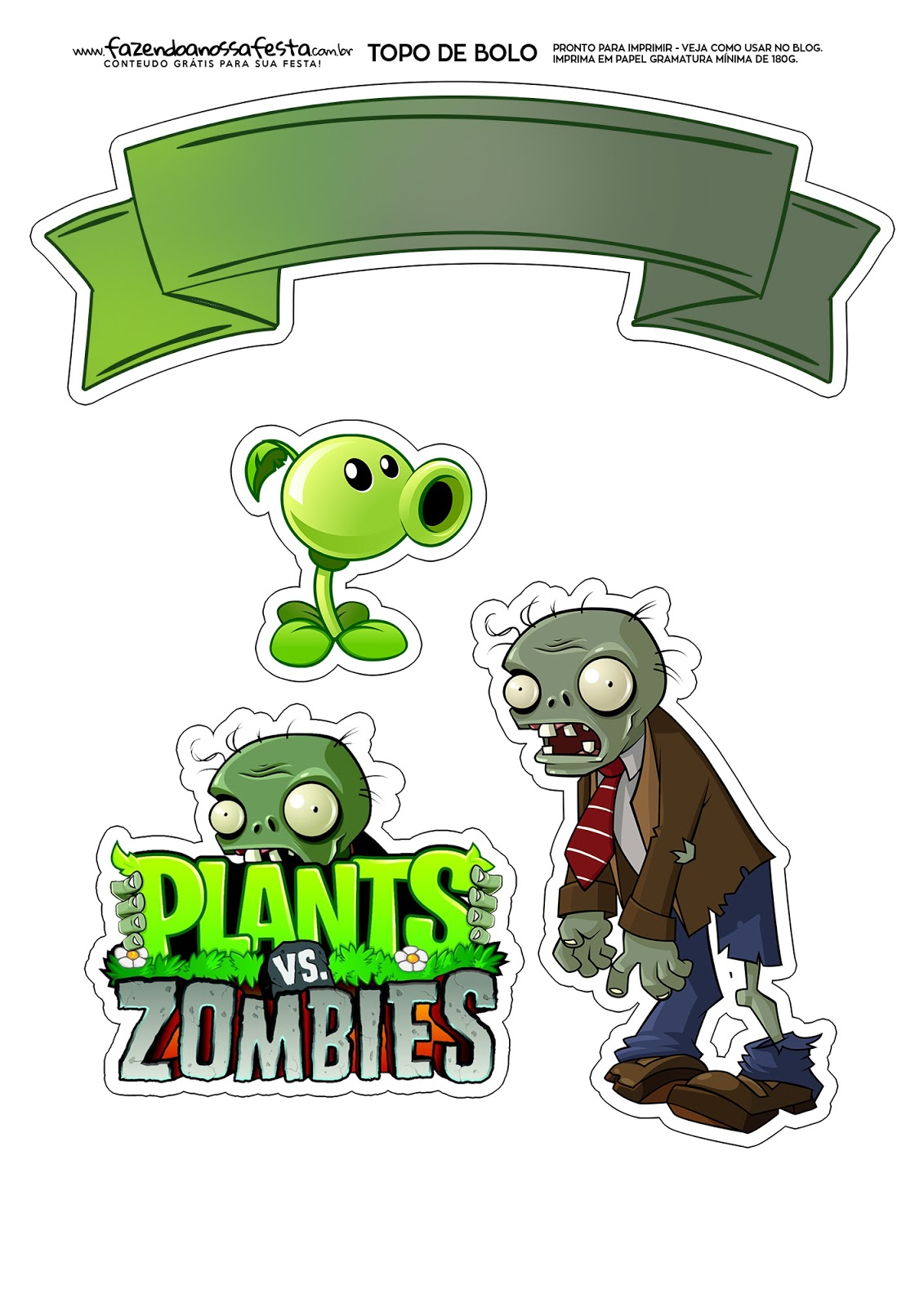 Plants Vs Zombies Free Printable Cake Toppers Oh My
