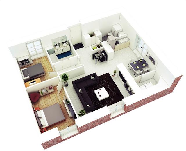 Planta de casa com sala no centro