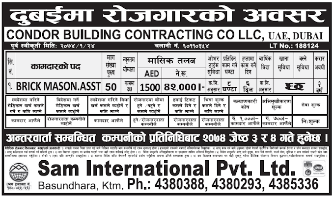 Jobs in Dubai for Nepali, Salary Rs 42,000