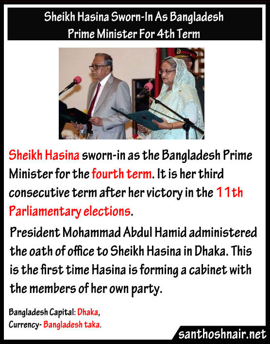 Sheikh Hasina sworn in as Bangladesh Prime Minister for 4th term