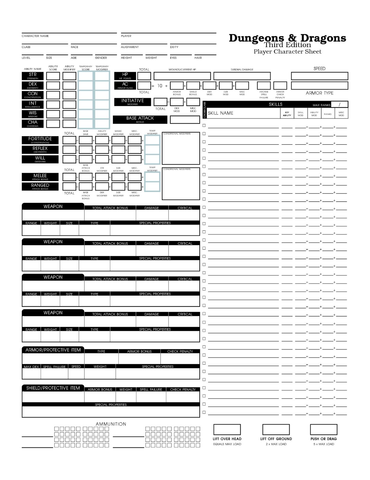 D Amp D Free Quests Basic 3e D Amp D Clear Character Sheet
