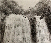 A charcoal study work of Abbey waterfalls from Karnataka by Manju Panchal