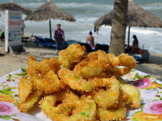 calamar frits mer plage resto mama ly hoi an