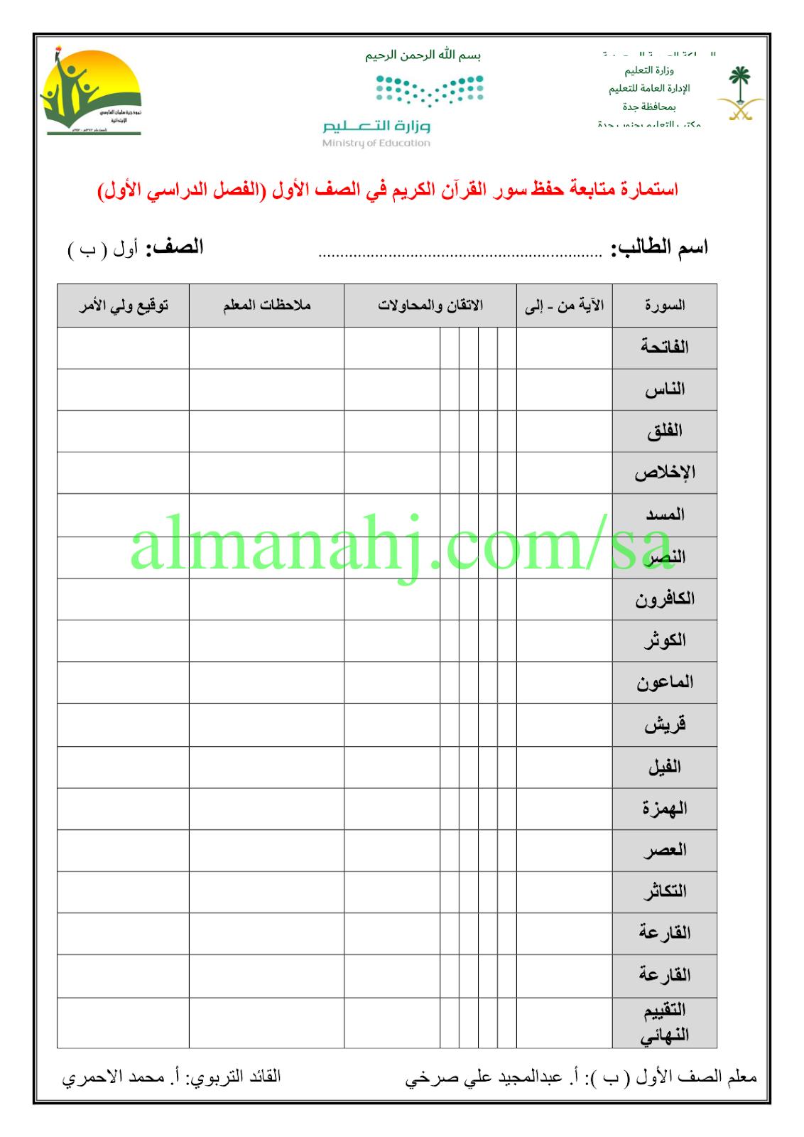 استمارة متابعة حفظ سور القرآن الكريم الصف الأول القرآن الكريم
