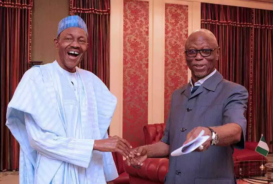 Image result for oyegun lifts buhari's hand