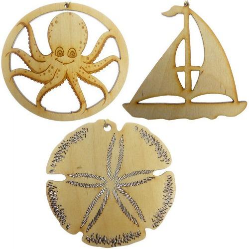 Lasercut Coastal and Nautical Wood Ornaments