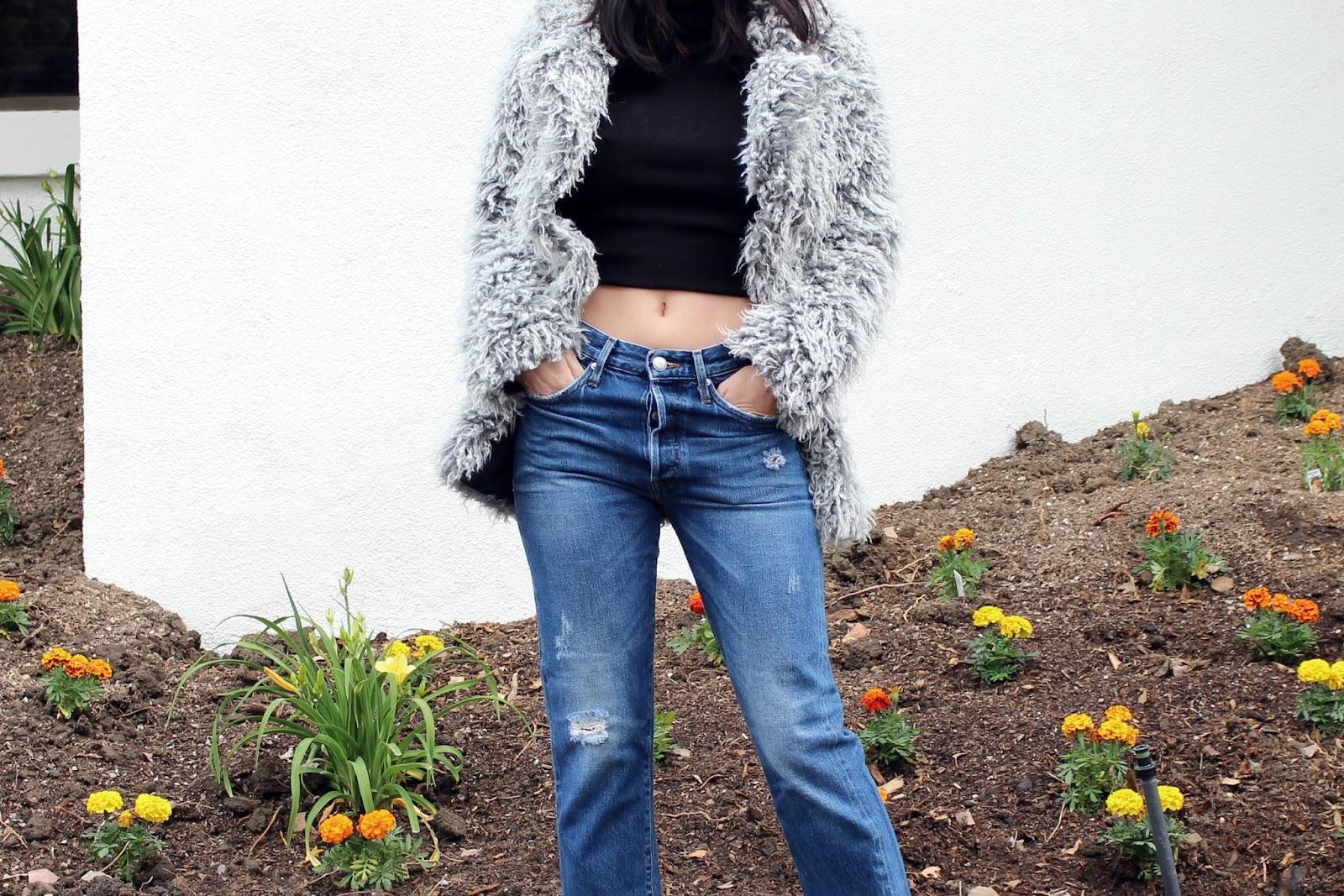 fur shoes, fur heels, vintage jeans, levis 501, faux fur jacket, fur coat, spring 2016, spring trends, street style, tourdestfu, turtleneck, layered outfit