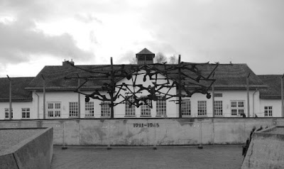 Dachau memorial representing bodies on barbed wire