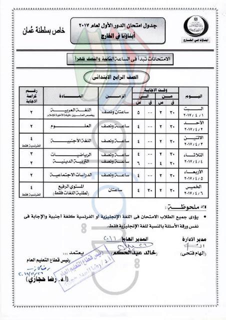 جدول امتحانات الصف الرابع الإبتدائي لابناؤنا في الخارج 2017 عمان