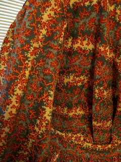 Gauged skirt and gathered bodice for 1850s cotton print dress.