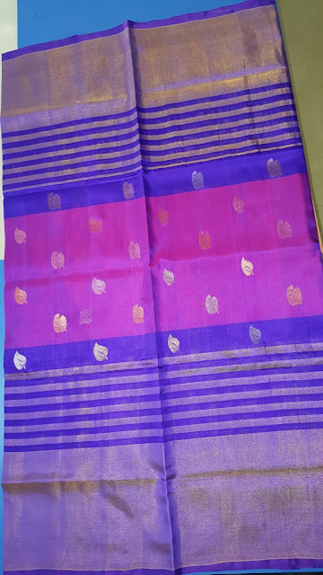 Uppada blue color saree with small leaf butta