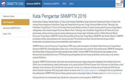 Pengumuman SNMPTN 2016 Sistem Penerimaan Mahasiswa Baru