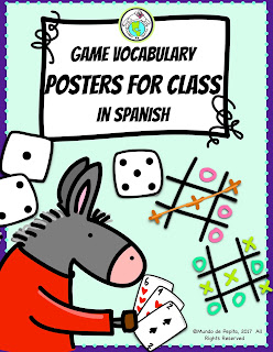 Games Vocabulary Posters for Spanish Class