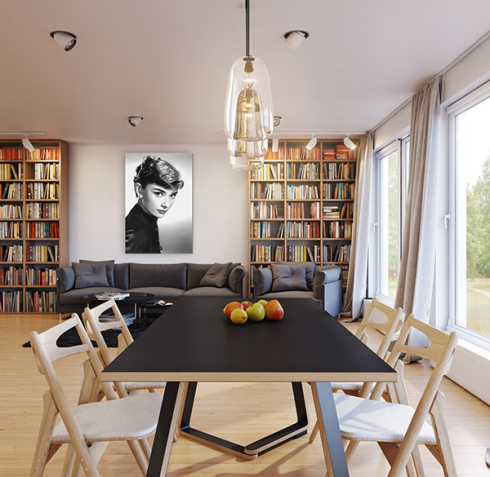 Audrey Hepburn photo on wall