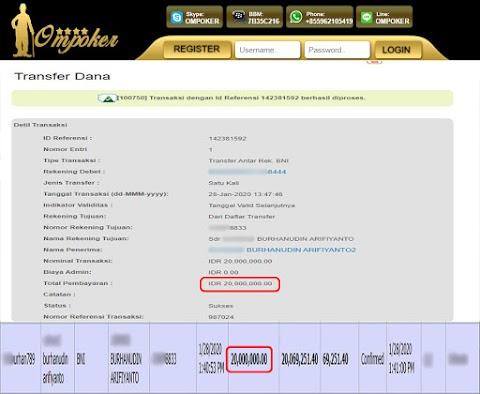 Selamat Kepada Member Setia Ompoker WD Rp 20.000.000