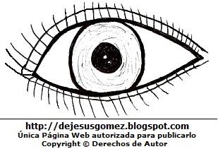 Dibujo de un ojo para colorear, pintar e imprimir. Dibujo hecho por Jesus Gómez