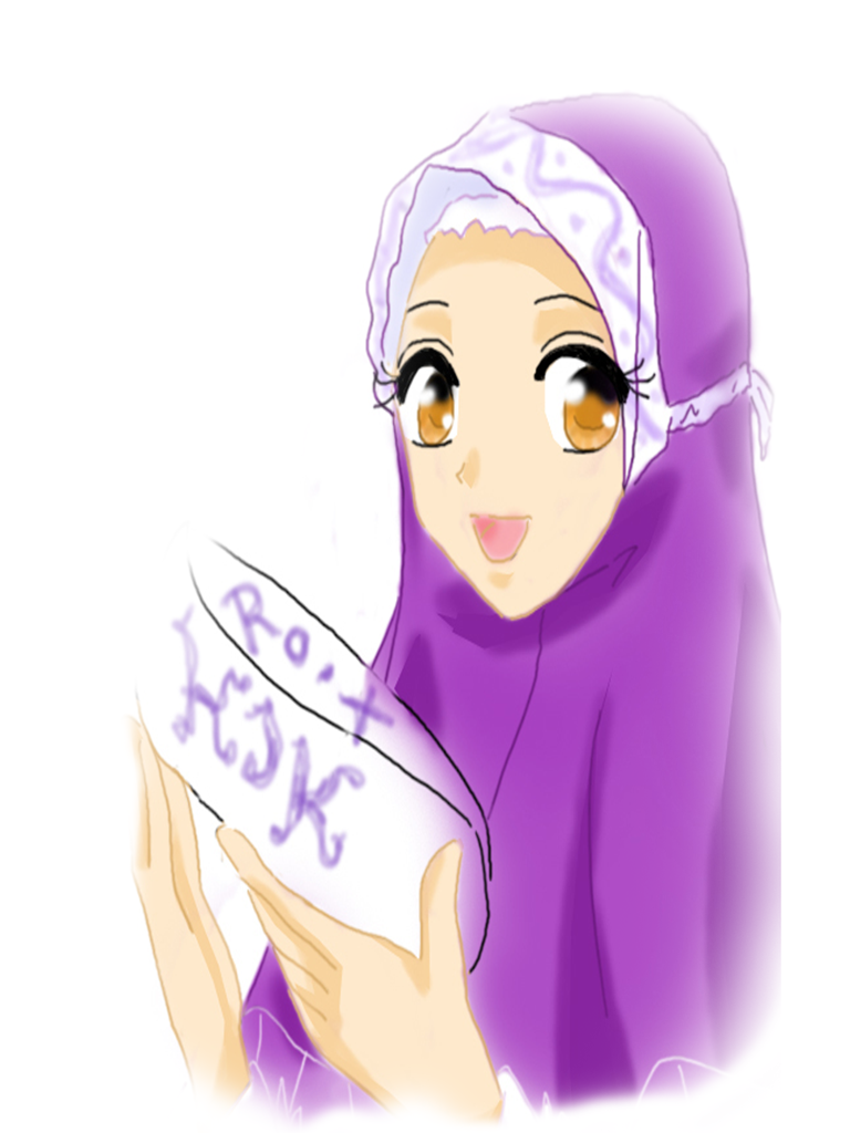LIFE IS PUZZLE Hijab Girl Cartoon