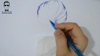طريقة رسم الشعر بقلم الجاف الازرق
