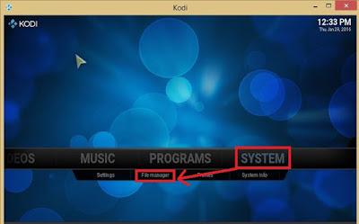 system settings on Kodi