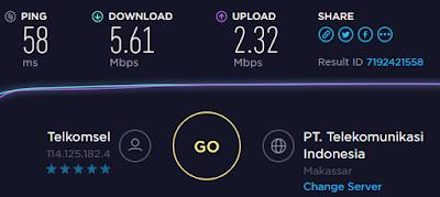 Hasil Speed Test Internet Menggunakan USB Tethering