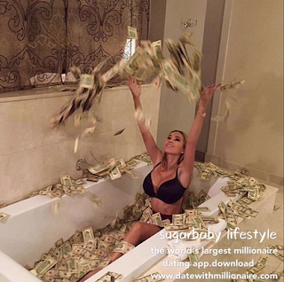 The girl filled the bathtub with cash and took pictures of the moment.