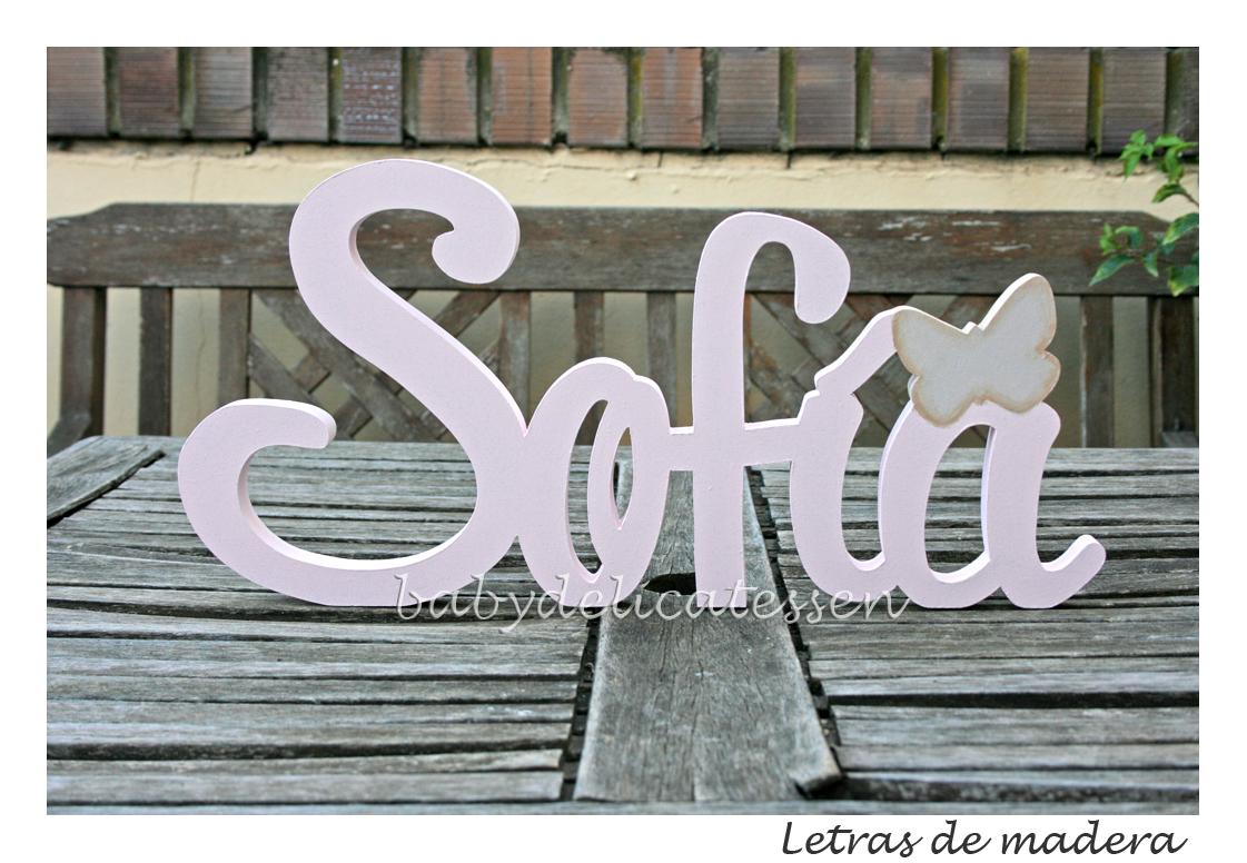 Baby delicatessen letras de madera sof a - Letras de madera para decorar ...