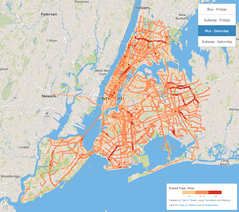 New York City transit frequency visualization (bus).