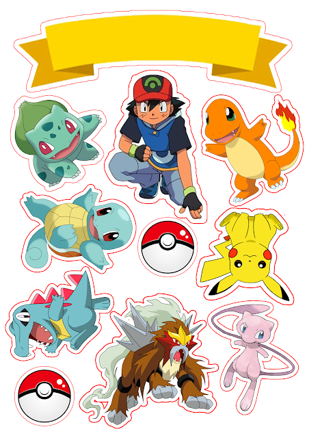 Pokemon Free Printable Cake Toppers.