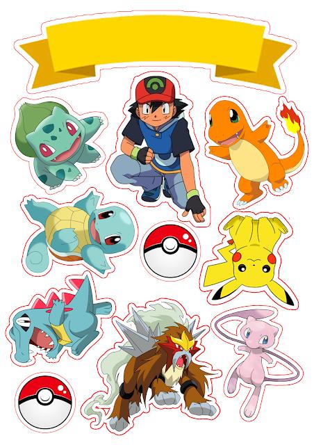 Pokemon: Toppers para Tartas, Tortas, Pasteles, Bizcochos o Cakes para Imprimir Gratis.