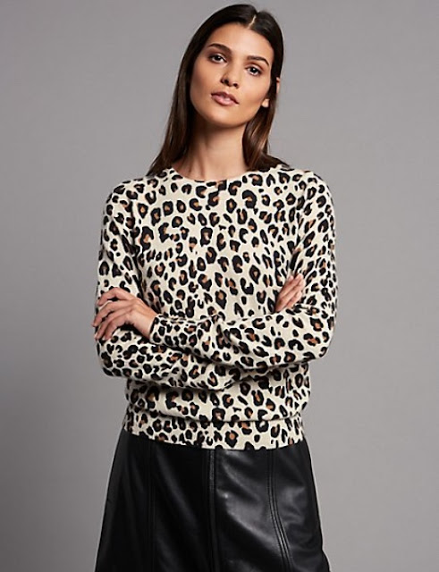 marks and spencer pure cashmere animal print jumper