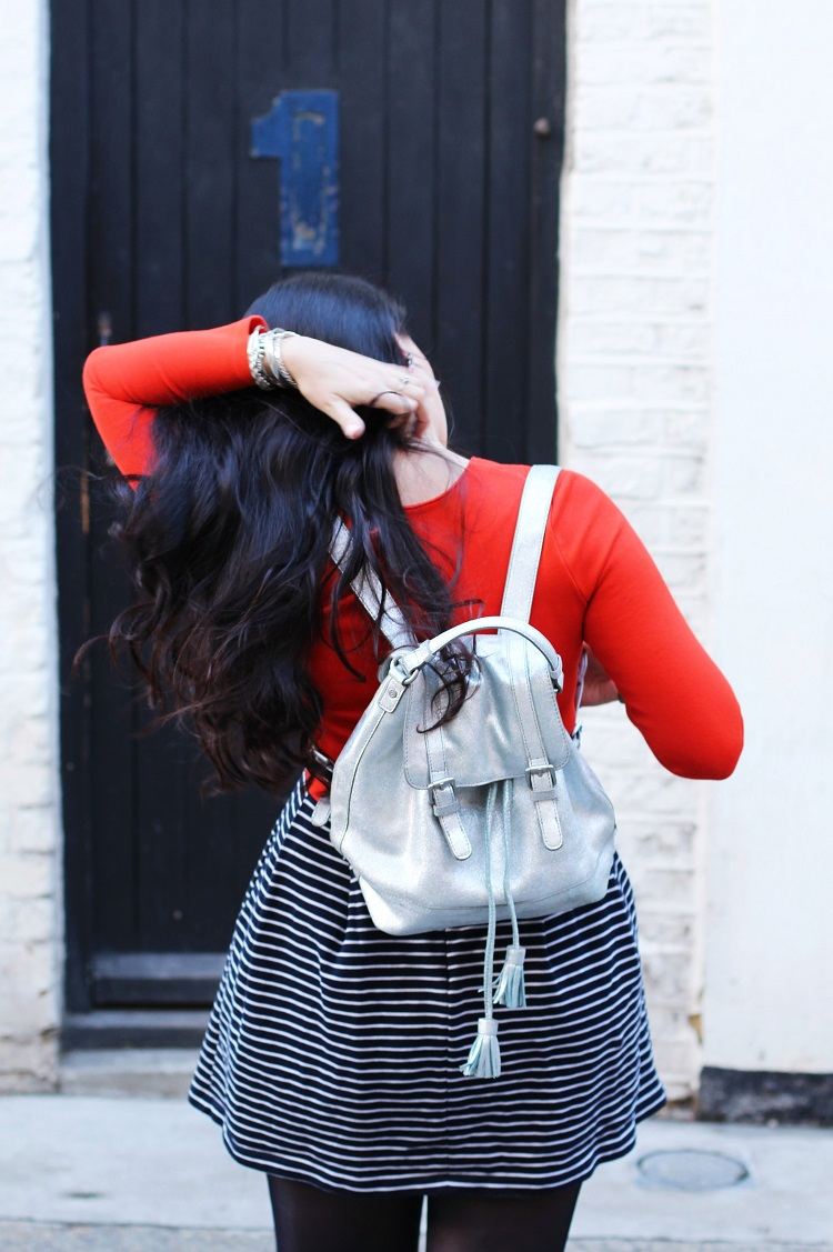 Silver Boden backpack - London fashion blogger Emma Louise Layla