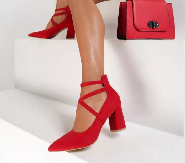 Pantofi cu toc mic gros de zi si birou Rosii din piele eco intoarsa