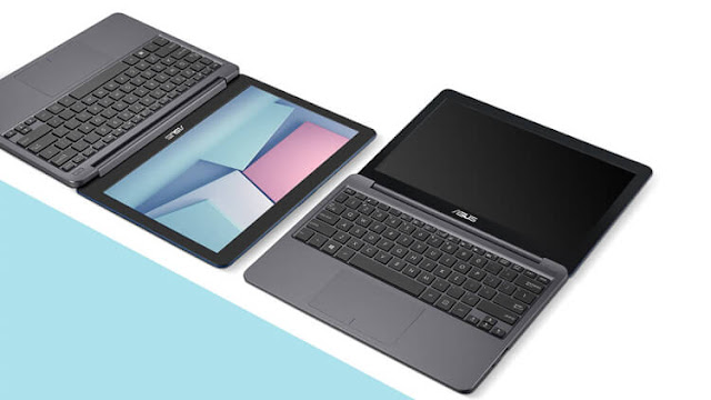 Top view of two Asus VivoBook E12  laptops having an angle of 180 degree between screen and keyboard