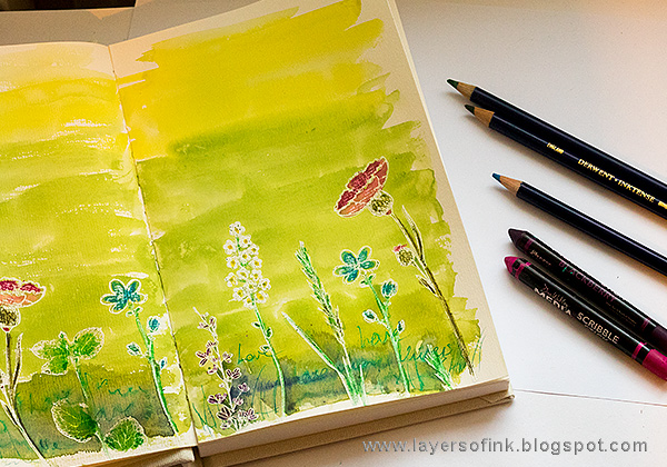 Layers of ink - Shimmery Watercolor Art Journal Tutorial by Anna-Karin Evaldsson with Derwent Inktense