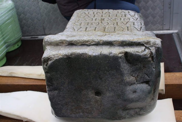 Tombstone of 12-year-old Roman girl found by fisherman in Slovenia