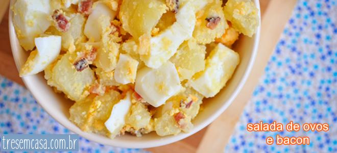 salada de ovos com bacon